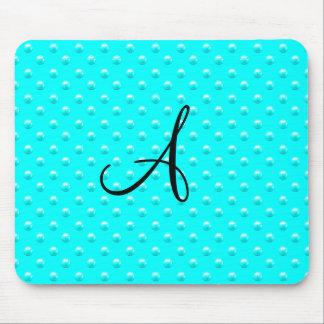 Monogram bright aqua pearl polka dots mouse pad