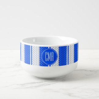 Monogram Bright Blue and White Polka Dots Pattern Soup Mug