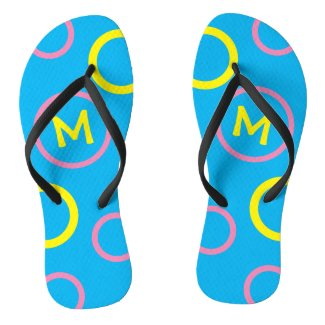 Monogram Bright Blue, Yellow and Pink Flip Flops