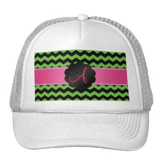 Monogram bright green and black chevrons cap