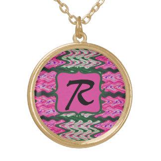Monogram Bright Pink Green pattern Custom Necklace