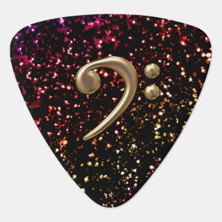 Monogram Bronze Bass Clef Dark Glitter Guitar Pick