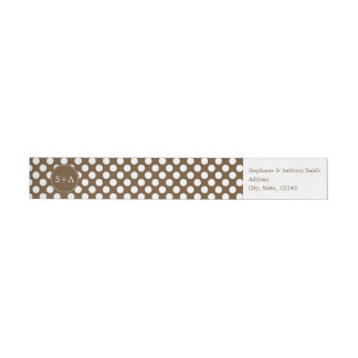 Monogram Brown and White Polka Dot Wedding Wraparound Return Address Label