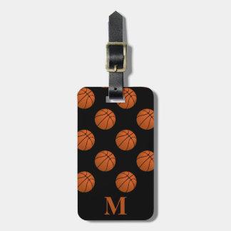 Monogram Brown Basketball Balls, Black Luggage Tag