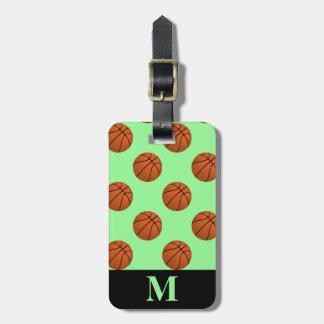 Monogram Brown Basketball Balls, Mint Green Luggage Tag