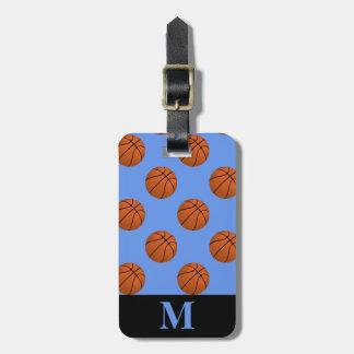 Monogram Brown Basketball Balls on Cornflower Blue Luggage Tag