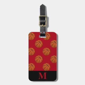 Monogram Brown Basketball Balls on Dark Red Luggage Tag