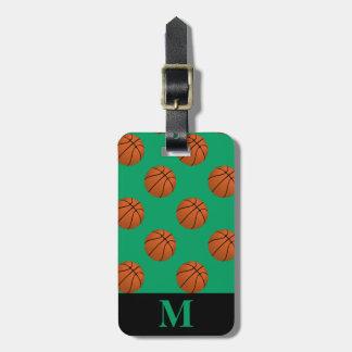 Monogram Brown Basketball Balls on Shamrock Green Luggage Tag