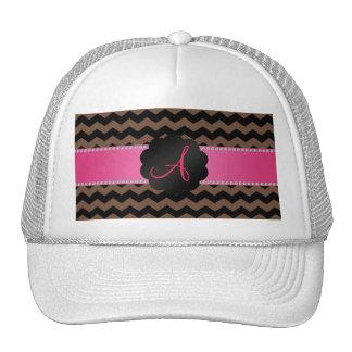 Monogram brown black chevrons cap