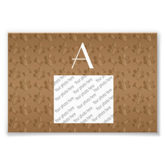 Monogram brown dog paw prints photo print