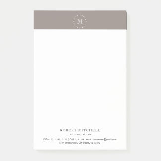 Monogram Brown Elegant Professional Post-it® Notes