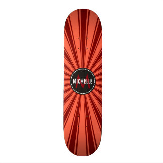 Monogram Brown Funky Sun Rays Pattern 20 Cm Skateboard Deck