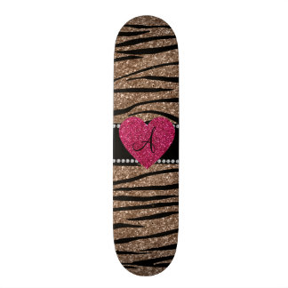 Monogram brown glitter zebra stripes pink heart custom skate board