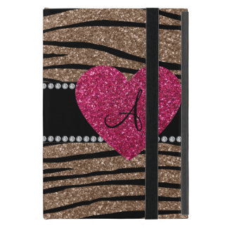 Monogram brown glitter zebra stripes pink heart iPad mini case