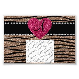 Monogram brown glitter zebra stripes pink heart art photo