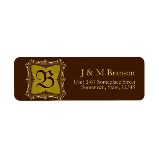 Monogram Brown + Gold Address Label