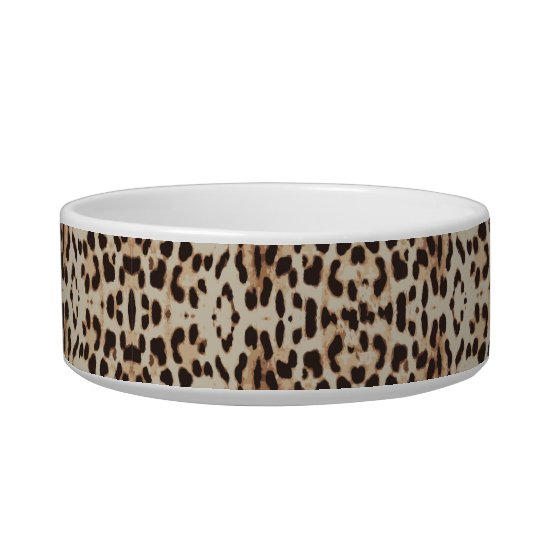Monogram Brown Leopard Print Cat Bowl