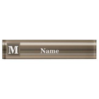 Monogram brown stripes name plate