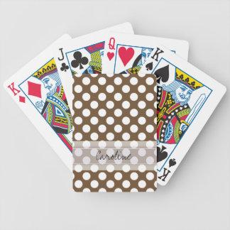 Monogram Brown White Trendy Fun Polka Dot Pattern Bicycle Playing Cards