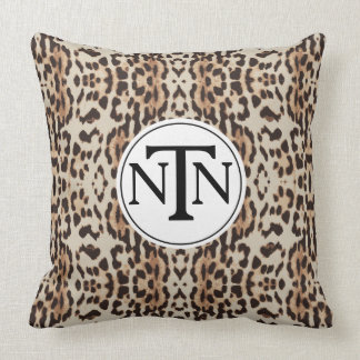 Monogram Brown Wild Leopard Print Cushion