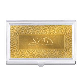 Monogram Buckskin Leather Victorian Frame tan Business Card Case