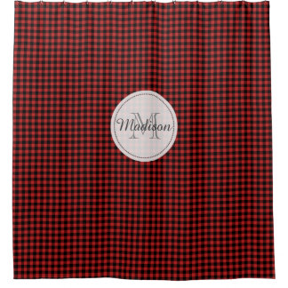 Monogram Buffalo Check Plaid Rustic Red and Black Shower Curtain