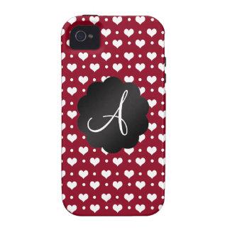Monogram burgundy red hearts polka dots iPhone 4 covers