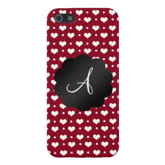 Monogram burgundy red hearts polka dots iPhone 5 cover