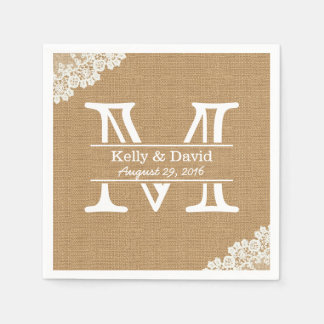 Monogram Burlap & Lace Rustic Wedding Paper Napkins