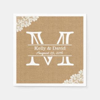 Monogram Burlap & Lace Rustic Wedding Paper Napkins
