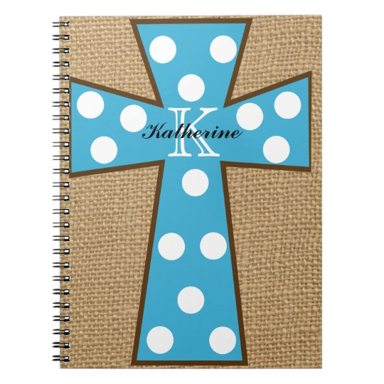 Monogram Burlap & Turquoise Cross Spiral Notebook