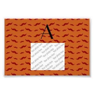 Monogram burnt orange mustache pattern photograph