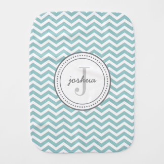 Monogram Burp Cloth - aqua