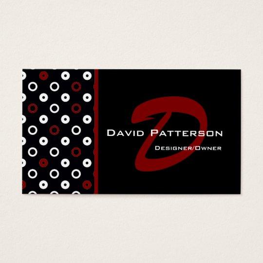 Monogram Business Card :: Black, White & Red