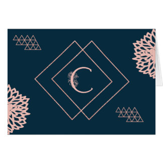 "Monogram ""C"" Card in Navy and Pink"