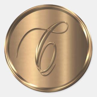 Monogram C NONMETALLIC Bronze Envelope Seal Round Sticker