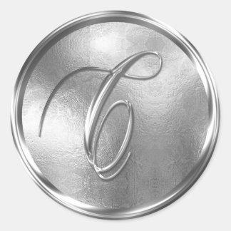 Monogram C NONMETALLIC Silver Envelope Seal Round Sticker