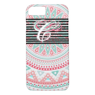 "Monogram ""C"" on Colorful Tribal. iPhone 7 Case"