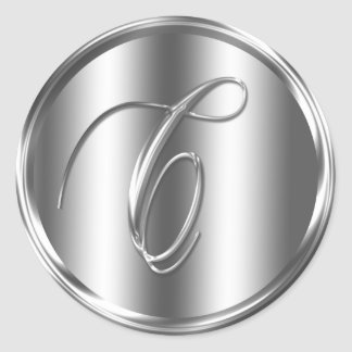 Monogram C Silver Color Round Sticker