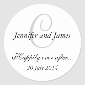 Monogram C Stickers for Wedding Favours