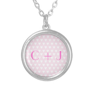 Monogram C sweethearts initials pink love hearts Silver Plated Necklace