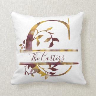 Monogram C - Watercolor - Personalized Cushion