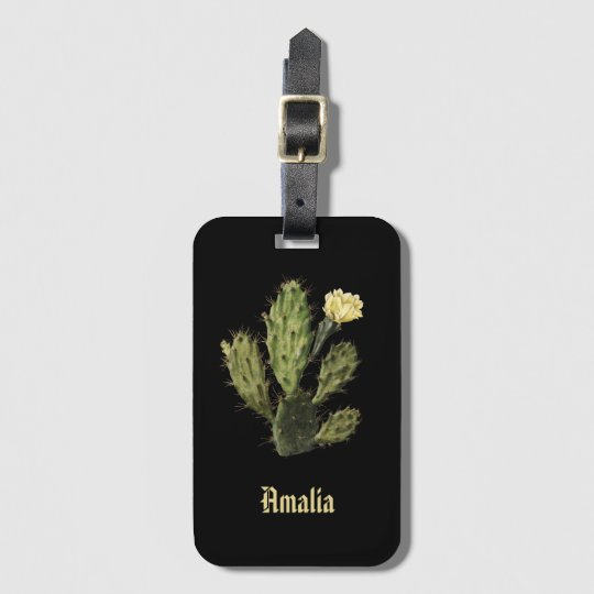 Monogram Cactus Flower Vintage Black Luggage Tag