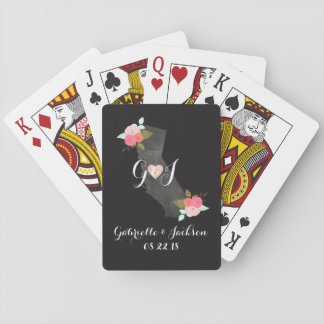 Monogram California State Chic Floral Couples Playing Cards