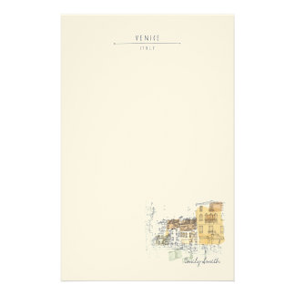 Monogram. Canal in Venice Italy. Europe. Customized Stationery