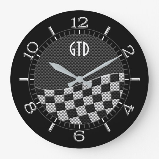 Monogram Carbon Style Chequered Racing Flag Wave Large