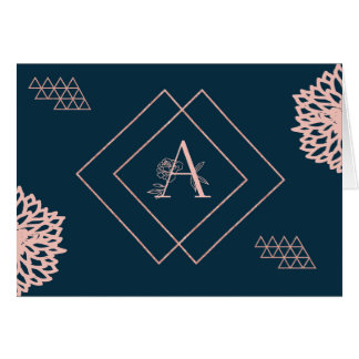 Monogram Card in Navy and Pink