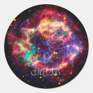 Monogram Cassiopeia, Milky Ways Youngest Supernova Round Sticker
