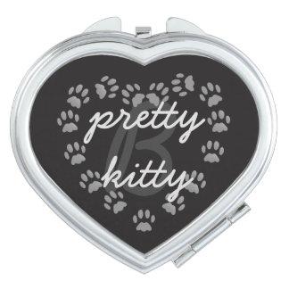 Monogram Cat Paw Print Heart Compact Travel Mirror