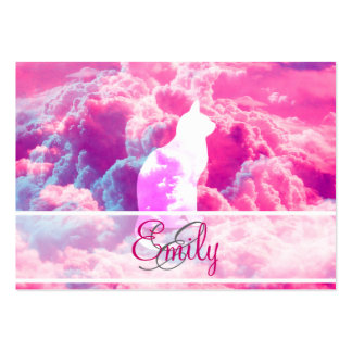 Monogram Cat Vector Bright Pink Clouds Space Business Card Templates